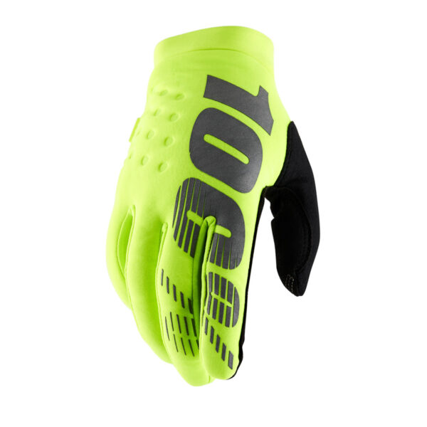 100% Brisker Glove Fluo Yellow : Large