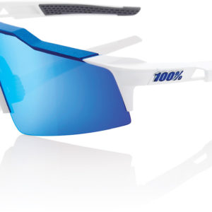 100% Speedcraft SL Glasses : Matt White/Metallic Blue