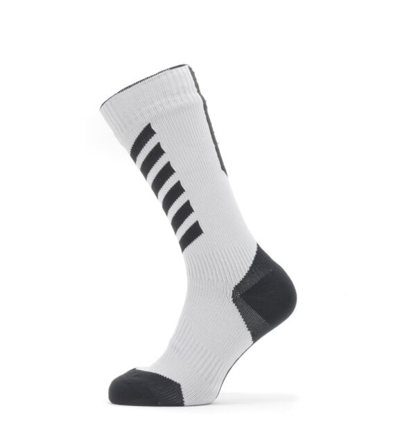 Sealskinz Waterproof Cold Weather Mid Length Sock with Hydrostop : Grey/Black/Yellow : Small